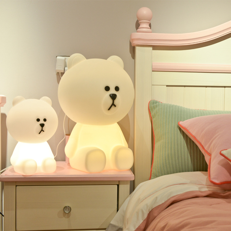LED projection night light cute bear cartoon light children's room decoration creative novelty gift lamp plug-in night light akdsteel children bear shape led night light cute creative decoration for children s room hallowmas best gift new year chrismas