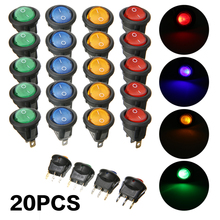 20pcs Red Blue Green Yellow ON/OFF Round Rocker Switch LED Car Dashboard Dash Boat Round Rocker Switches 12V 12A