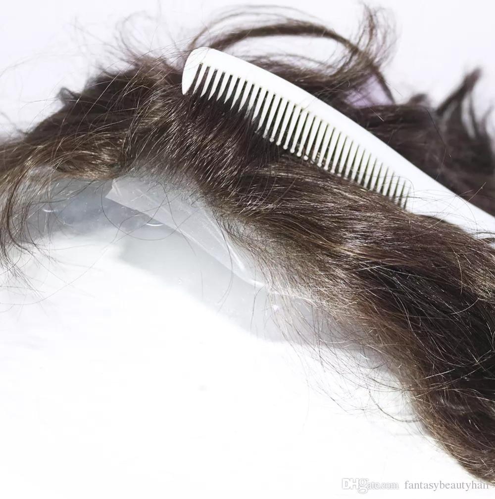 Eversilky Mens Posticci Toupee Super-Invisibile Sottile Della Pelle Naturale Nero Mens Parrucchino Sistemi di Sostituzione Dei Capelli Per capelli perso