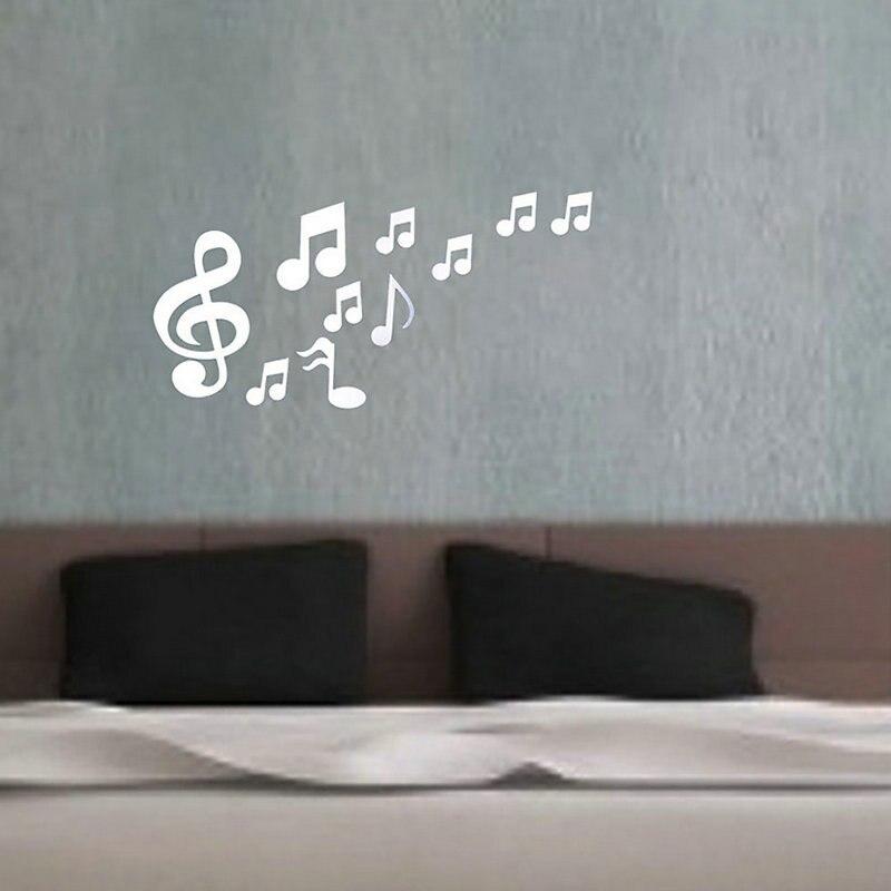 8113b54998d17 1 مجموعة الموسيقية ملاحظات القابل للماء مرآة الحائط ملصقا خزانة صائق ديكور