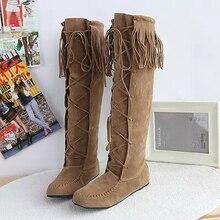 Free shipping 2016 New sweet tassel strap flat heel big yards 34-43 women's boots tall canister Scrub