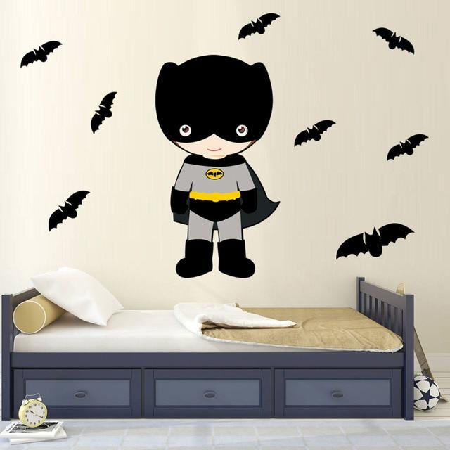 Cute Cartoon Batman Vinyl Wall Sticker Super Hero Art Poster Diy Wallpaper For Children Boys Themed