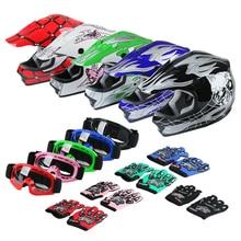 DOT Motorcycle Youth Kids Child helmet full face motocross casco moto Offroad Street Goggles Gloves Bike helmets ATV capacete