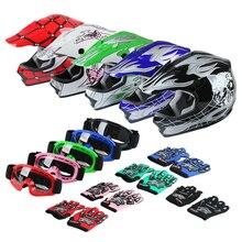 цена на Motorcycle helmet DOT Youth Kids motocross Dirt Bike Helmet Goggles+Gloves S/M/L