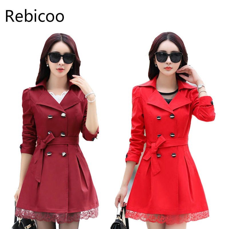 Women   Trench   Coat 2018 Plus Size Lace Thin Double-breasted Coat Women Winter Outerwear Clothing 5 Colors