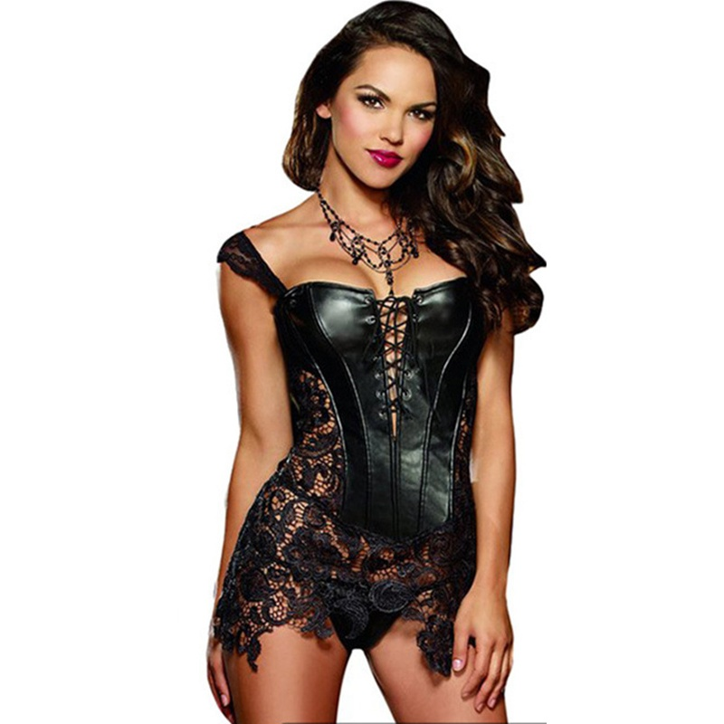 b668ec882fa 2017 Hot Sale Faux Leather Corsets And Bustiers Sexy Steampunk Overbust Corset  Dress Lace Up Hollow Out Waist Trainer S XL-in Bustiers   Corsets from ...