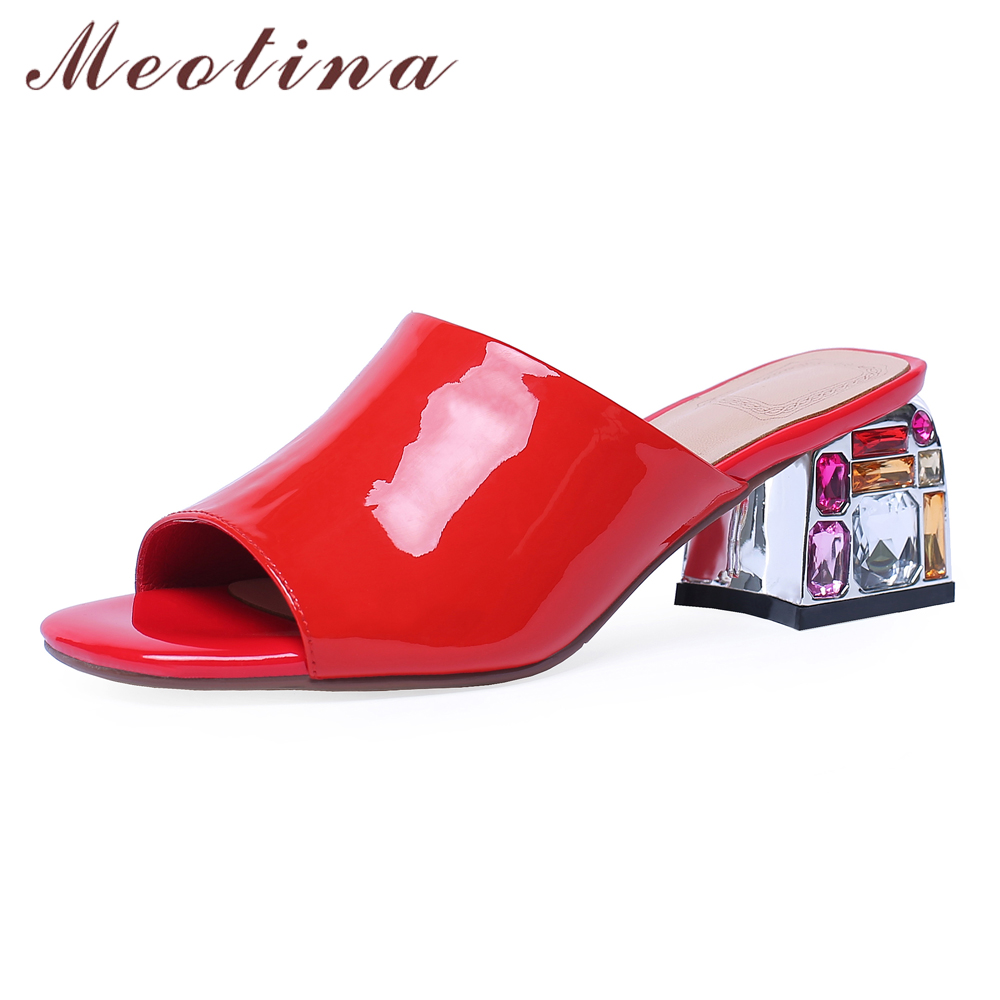 Meotina Women Shoes Summer Slippers Natural Genuine Leather Rhinestone Thick High Heel Shoes Cow Patent Leather