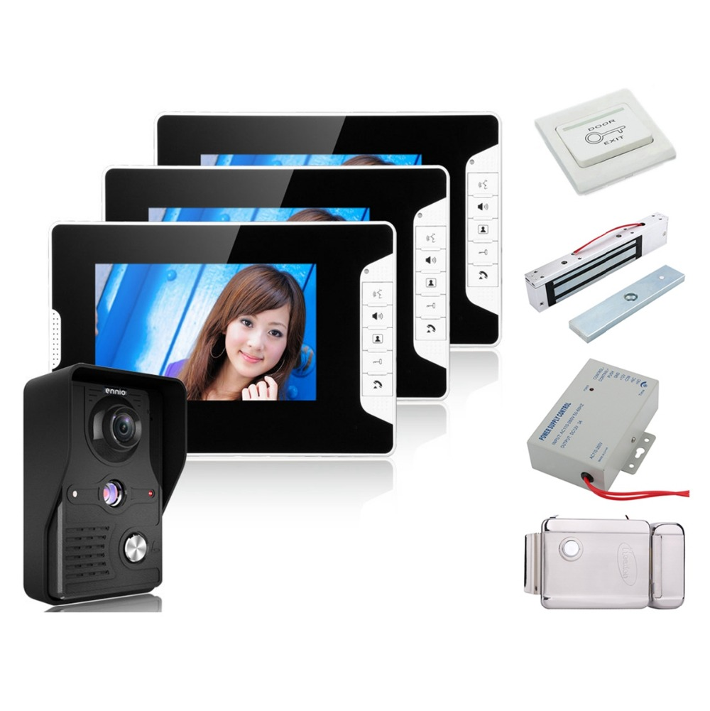 Home Security 7 Inch Video Door Phone Doorbell Intercom Kit 1-camera 3-monitor Night Vision+Electronic Locks Set