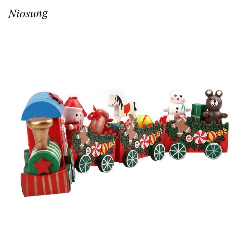 ✅1set Wood Train for Kid Toys Gift Christmas Ornament Children ...