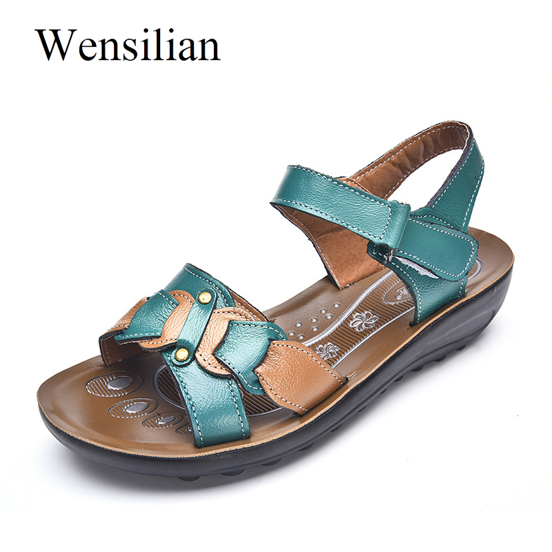 все цены на Summer Sandals Women Genuine Leather Flat Sandals Ladies Hook-Loop Beach Shoes Female Slippers Anti Slip Wedges Zapatos Mujer