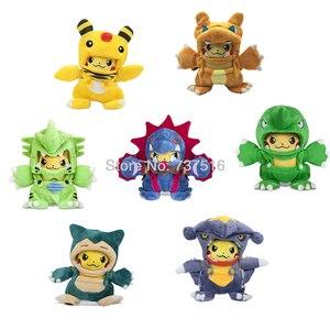 Nowe anime śliczne pluszaki maniak Garchomp Charizard Hydreigon Tyranitar Snorlax Ampharos Pikachu pluszowa lalka miękkie zabawki dla dzieci