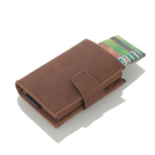 New Pu Leather Automatic Card Wallet Credit Box Pickup Holder Anti-rfid Buxiness Package