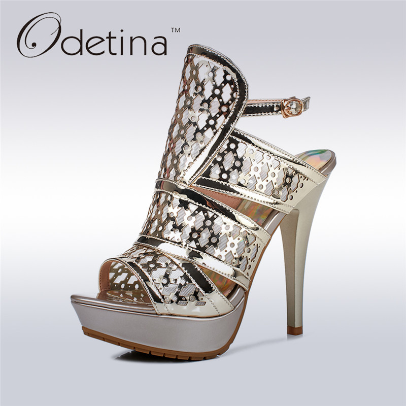 Odetina 2017 Fashion Women Gladiator Sandals Ladies Pumps High Heels Platform Open Toe Ankle Strap Sandals Buckle Summer Shoes купить