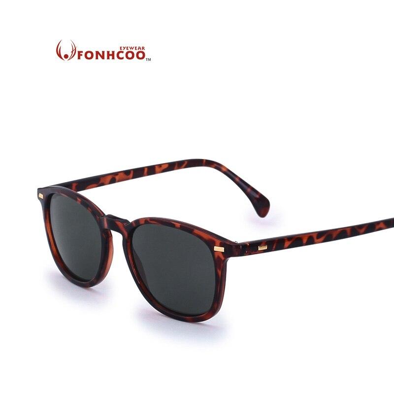 2018 FONHCOO חדש אופנה מקוטב משקפי שמש גברים מותג מעצב קלאסי נשים רטרו מסמרת גוונים עגול משקפיים UV400 חם קרני