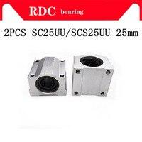 High quality 2PCS SC25UU SCS25UU 25mm Linear Ball Bearing Linear Motion Bearing Slide For CNC Free Shipping
