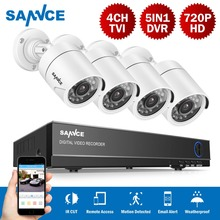 SANNCE 4CH 1080N 5 IN 1 DVR Kit System Security Surveillance HDMI 720P 1200TVL Weatherproof Outdoor CCTV Security Camera 1.0MP