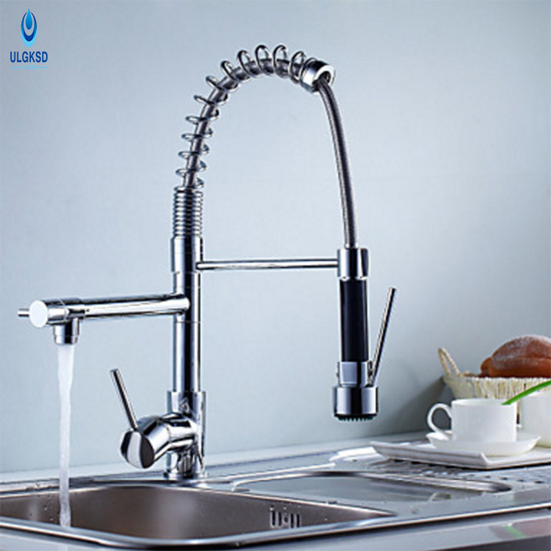 ULGKSD Brass Kitchen Sink Faucet Spring Faucet 360 Rotation Deck Mounted Faucet Hot and Cold Water Mixer Taps ulgksd 360 degree rotaty kitchen faucet antique brass deck mounted single handle bathroom faucet hot and cold water mixer taps