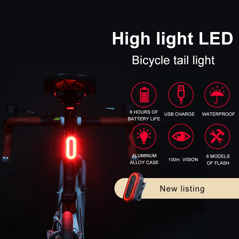 Rockbros Waterproof Led Bicycle Rechargeable 8 Hours Rear Taillight 3 Modes Cycling Bike Fog Safety Warning Red Lamp Tail Light Bicycle Accessories