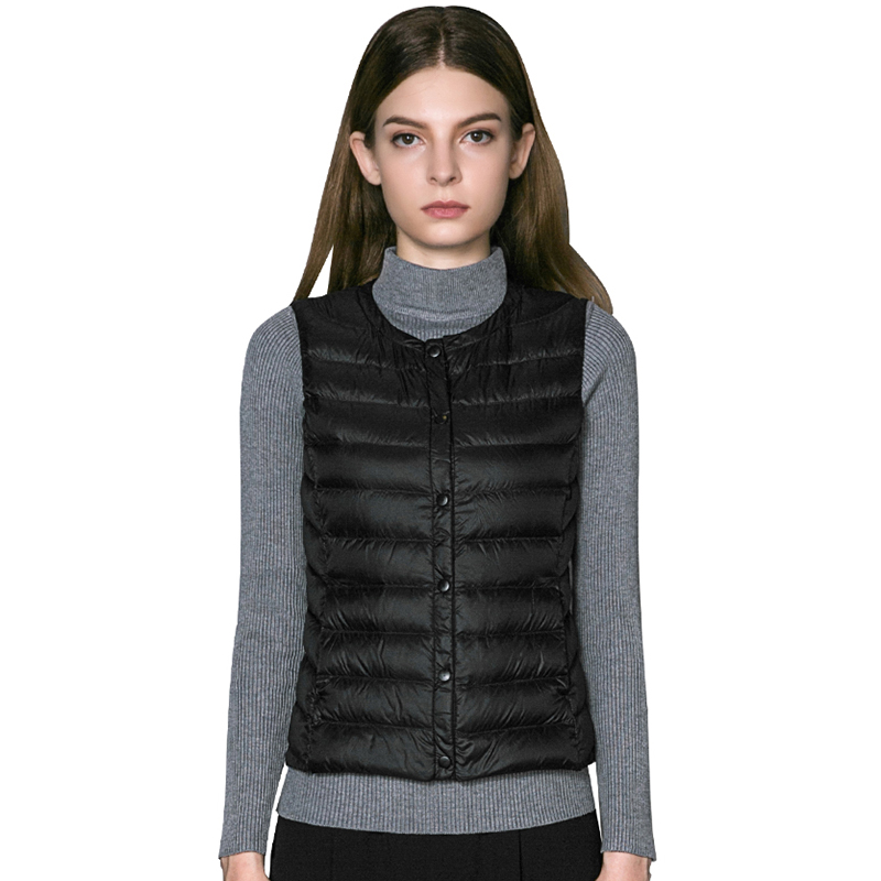 90% White Duck   Down     Coats   Women Short O-neck Slim Ultra Light   Down   Waistcoat Casual Sleeveless Light Thin   Down   Vest RE0370
