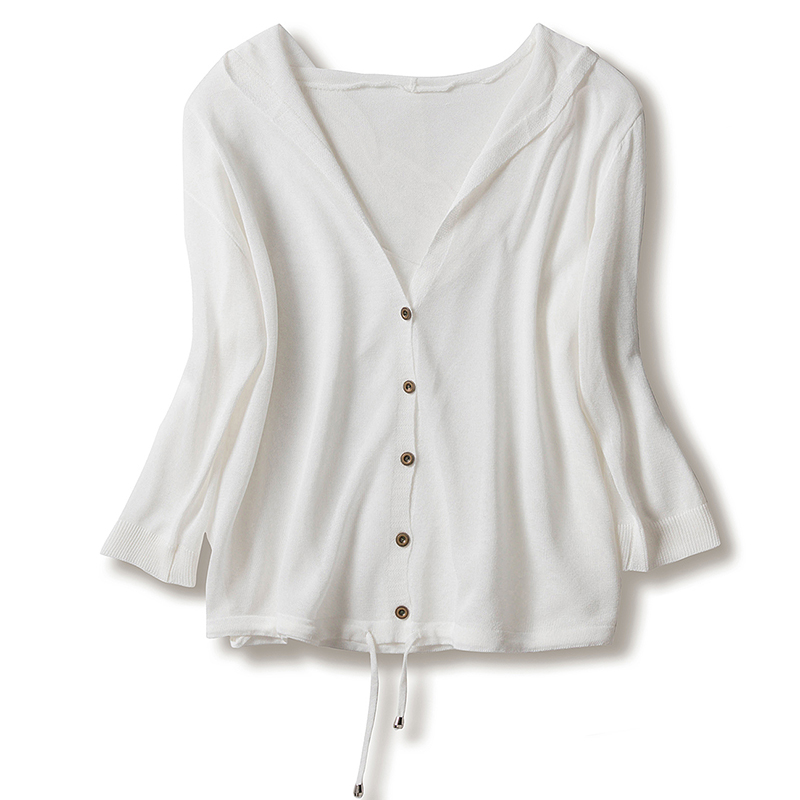 Women Thin Linen Knitted Cardigan Hooded <font><b>3/4</b></font> <font><b>Sleeve</b></font> <font><b>Sweater</b></font> Summer Lace Up Knitwear Cardigan Sunscreen Air Conditioning Shirts image