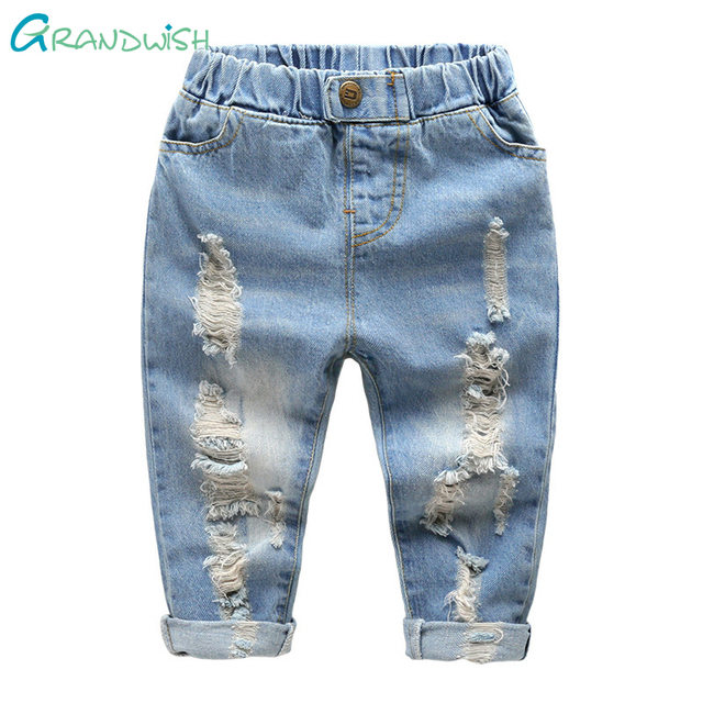 Grandwish Girls Ripped Denim Trousers Children's Spring Washing Jeans Pants Solid Casual Hole Jeans Pants for Boys 24M-8T,SC867