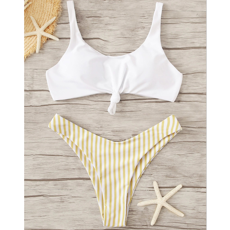 Swimwear High Waisted Tie Knotted Bikini Striped Push Up Swimsuit Beach Wear Women Swimwear High Waist Bathing Suits Biquini