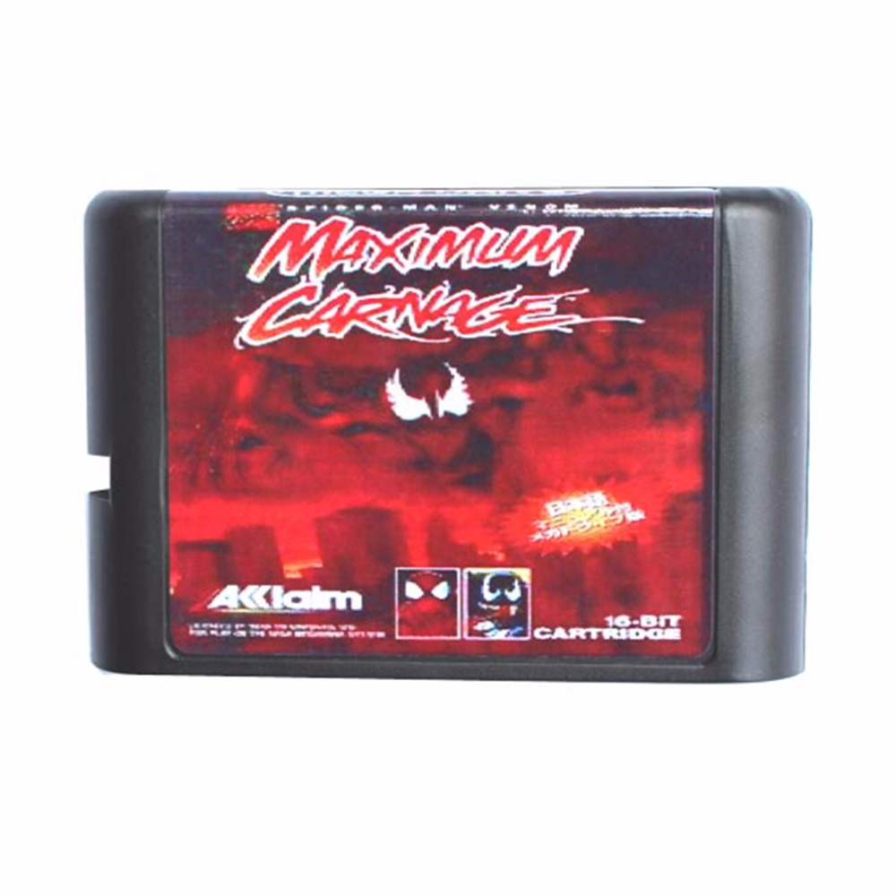 Spider Man and Venom - Maximum Carnage 16 Bit Mega Drive Game Card For Sega Genesis Video Game Console