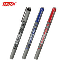 TENFON 1PC Twin Tip Permanent Markers Fine Point Black Blue Red Ink Portable Fine Colour Marker Pen CD-197(China)
