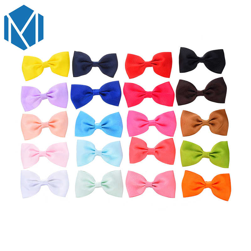 M MISM 20 יח'\חבילה צבעוני סרט Bowknot סיכות לשיער לילדים בנות כיסוי ראש מוצק עניבת פרפר שיער קליפ אבזרים לשיער
