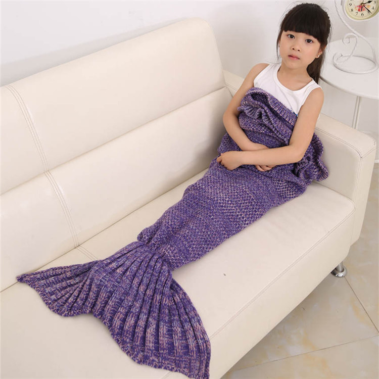 Factory Price Kids Mermaid Tail Blanket Handmade Knitted Blankets for Children Throw on Bed Sofa Tv Warm Blankets Wool 70x140cm