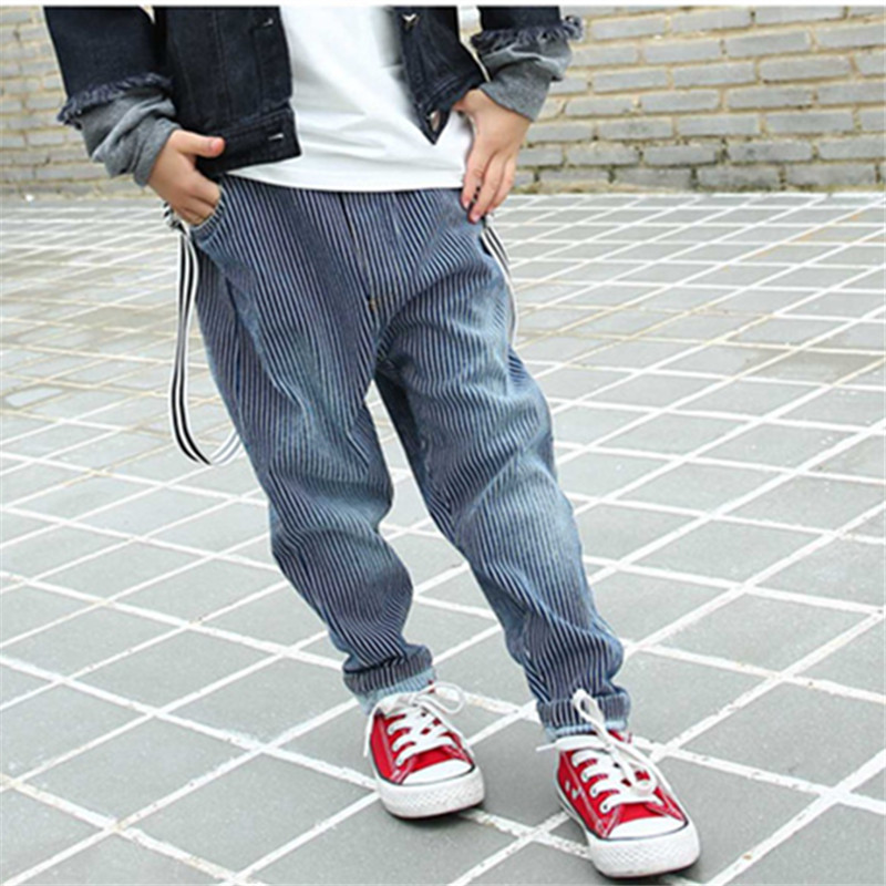 цены Casual Children Boys Loose Jeans Striped Trouser Personality Harem Jeans Pant Vintage Denim Pants Street Dance Pants 4-14T Boys