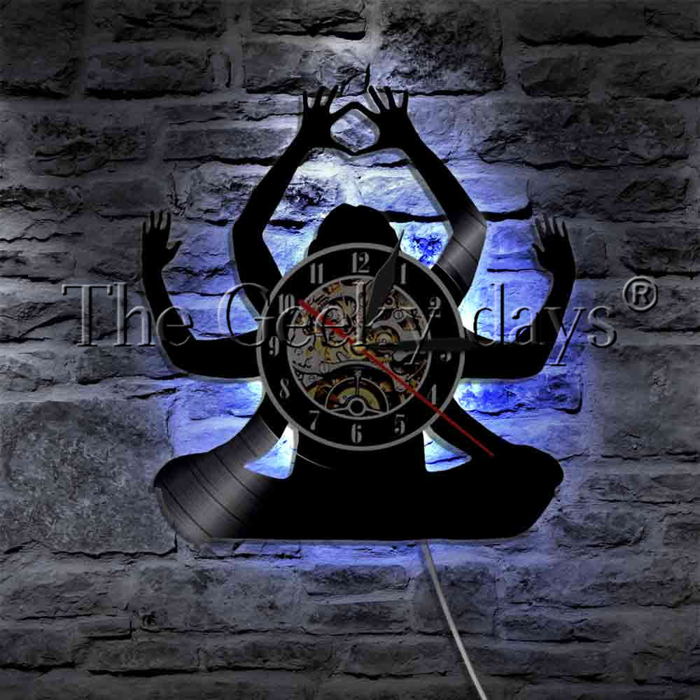 1Piece Meditate Budda LED Light Vinyl Record Wall Clock Mandala Yoga Fitness Sport Home Decor Wall Watch LED Hanging Lighting new indian mandala tapestry hippie home decorative wall hanging bohemia beach mat yoga mat bedspread table cloth 210x148cm