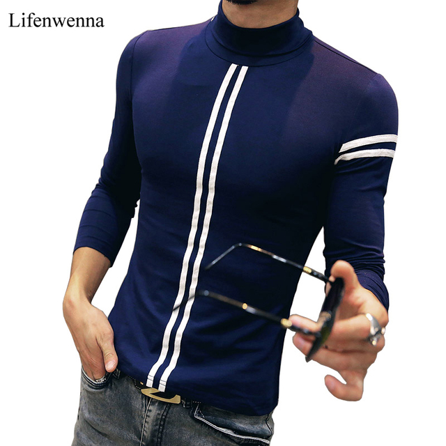 Hot 2017 Autumn Men's T Shirt New Fashion Turtleneck Striped Long Sleeve T Shirt Mens Clothes Trend Casual Slim Fit Top Tees 5XL