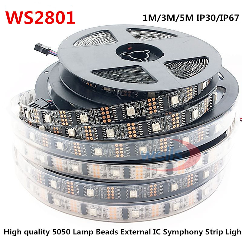 LED WS2801 32leds / m 5050 RBG DC5V 1M / 3M / 5M IP30IP67 Dekoration Adressbar LED Vattentät Strip Arduino utveckling ambilight TV