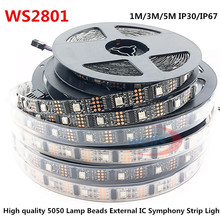 LED WS2801 32leds/m 5050 RBG DC5V 1M/3M/5M IP30IP67 Decoration Addressable LED Waterproof Strip Arduino development ambilight TV