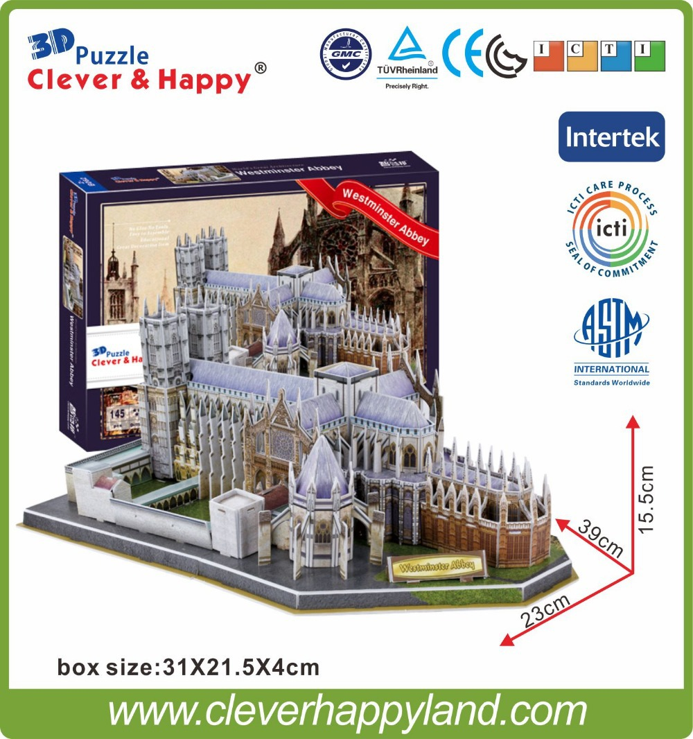New Clever&happy Land  3d Puzzle Model Westminster Abbey Adult Puzzle Diy Paper Warsaws Model Games For Children Paper