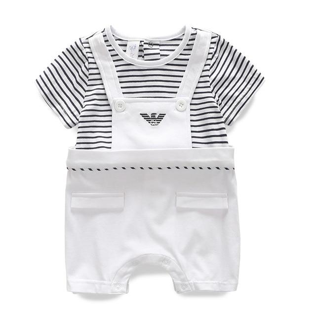Новорожденный ребенок мальчик в девочке джентльмен ремень кусок комбинезоны короткими рукавами Полосатый Ползунки восхождение одежды хлопок оптовая