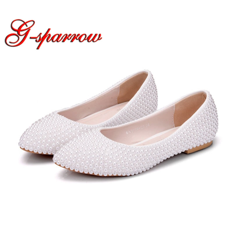 Pure White Pearl Bridesmaid Shoes Flat Heels Performance Dancing