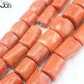 "Envío Gratis 100% Real Columna Naranja Coral Jewelry Making Joyas Grandes Cuentas De Coral Freeform Strand 15"""