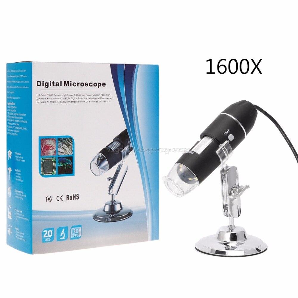 Loupe caméra numérique USB pour Microscope, appareil photo de Microscope numérique USB 1600X loupe 8LED avec support en métal J21 19 livraison directe