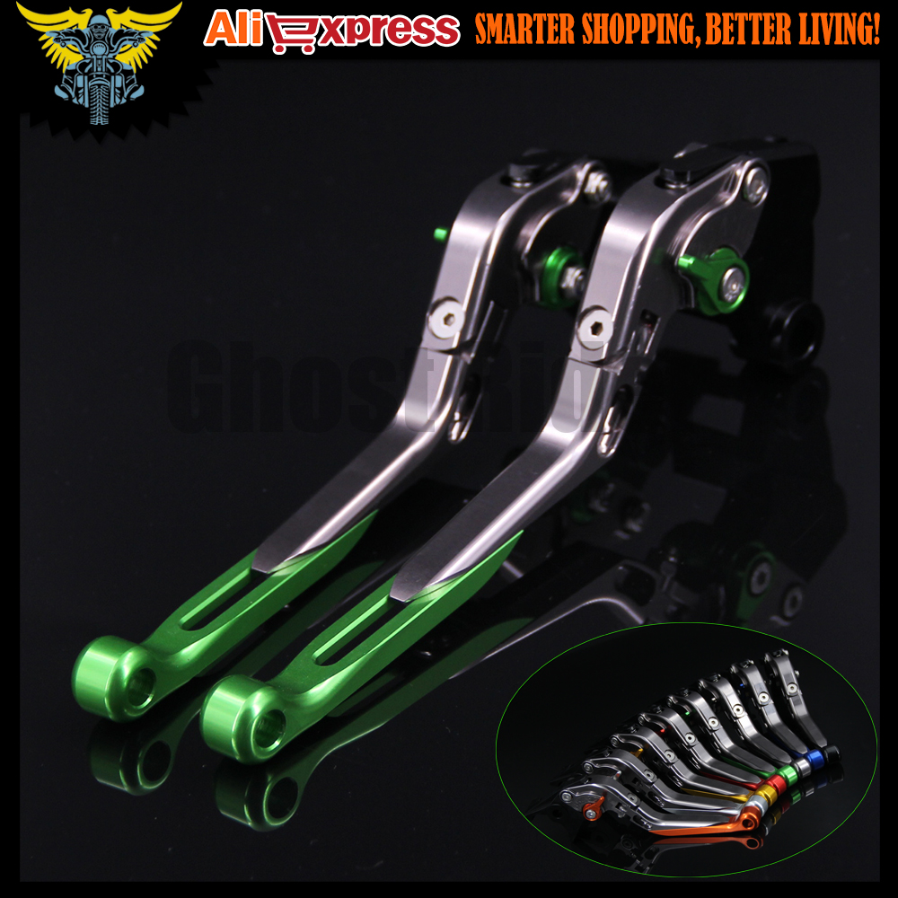 Green+Titanium CNC Adjustable Folding Extendable Motorcycle Brake Clutch Levers For Kawasaki NINJA 250R 2008 2009 2010 2011 2012