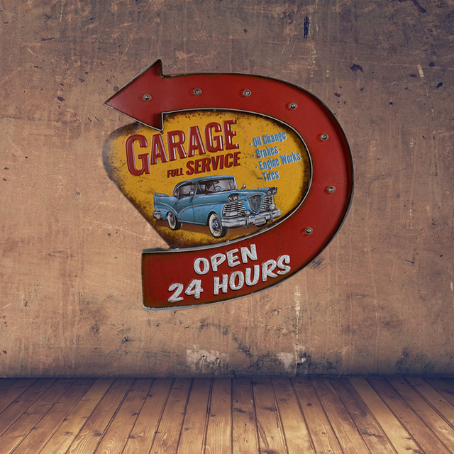 Retro Garage Full Service LED Metal Sign Open 24 Hours