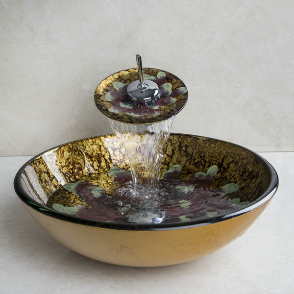 Round Tempered Glass Vessel Sink With Bathroom Faucet ,Pop - Up Drain And Mounting Ring Glass Sink Faucet Set VD4213-1 new vintage style antique brass bathroom vessel sink drain basin push down pop up drain with overflow solid brass 4310