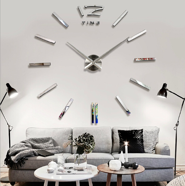 Home Decorations Big Silver Wall Clock Modern Design Large Decorative Designer DIY Livingroom Sticker Watch