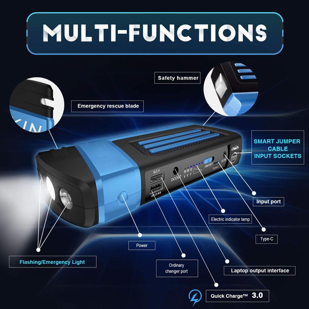 69800mAh Car Jump Starter Portable Power Bank 12V 4USB Car Battery Booster Charger for phone Laptop SOS light Seat blet cutter Зарядное устройство