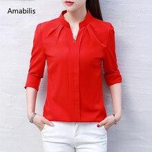 Amabilis Fashion Spring Autumn Korean Casual Women Shirt Chiffon high quality Women Tops Blouse Long sleeves Shirt