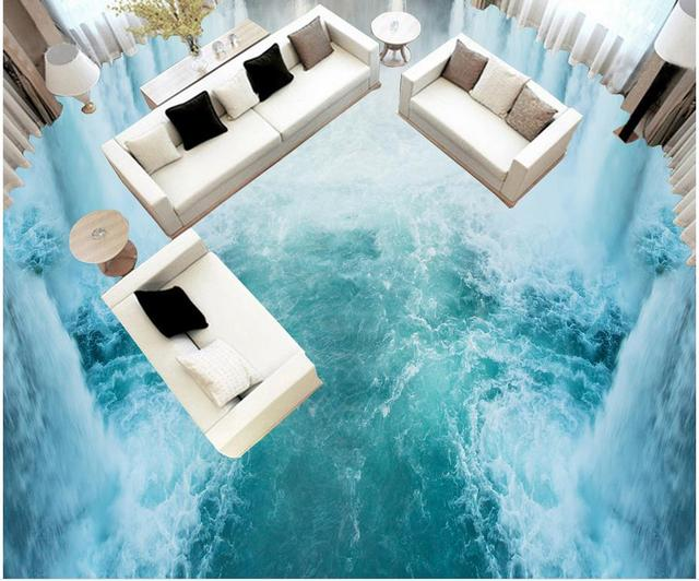 buy 3d floor wallpapers waterfall ocean 3d wall murals wallpaper floor custom. Black Bedroom Furniture Sets. Home Design Ideas