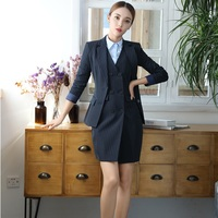 Plus Size Fashion Striped Professional Uniform Styles Work Suits With Jackets And Dress For Ladies Blazers