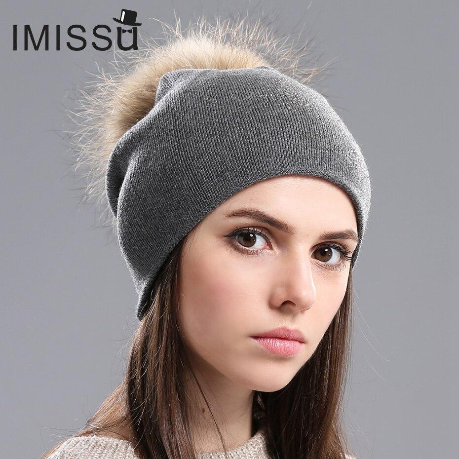 IMISSU 2017 Fashion female hats Winter Beanie Hat for Women Knitted Wool Skullies  Casual Cap with Real Raccoon Fox Fur Pompom women s winter beanie hat wool knitted cap shining rhinestone beanie mink fur pompom hats for women