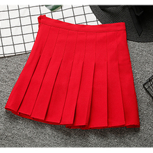 b42a12051 School High Waist Mini Skirts Womens 2019 Korean Style Summer Pleated Skirt  Solid Navy Red Pink